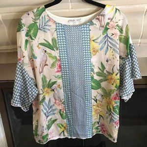 Zara Scarf Print Short Sleeve Blouse